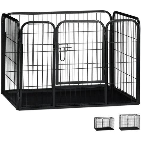 Jaula Perro, Cachorro y Animales Pequeños con Suelo para Interior y Exterior, Acero, Negro, 63 x 90 x 63 cm