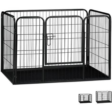 Jaula Perro, Cachorro y Animales Pequeños con Suelo para Interior y Exterior, Acero, Negro, 70 x 108 x 73 cm