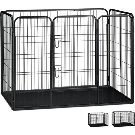 Jaula Perro, Cachorro y Animales Pequeños con Suelo para Interior y Exterior, Acero, Negro, 90 x 125 x 78 cm