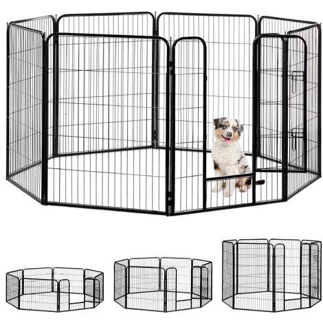 Jaula Perro, Cachorro y Animales Pequeños para Interior y Exterior, Acero, Negro, 100 x 76,5 x 235 cm