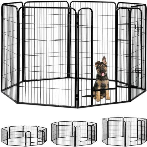 Jaula Perro, Cachorro y Animales Pequeños para Interior y Exterior, Acero, Negro, 120 x 76,5 x 235 cm