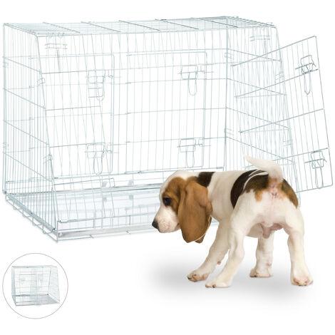 Jaula Perro Plegable con Asa y 2 Compartimentos, Acero, Plateado, Varios Tamaños