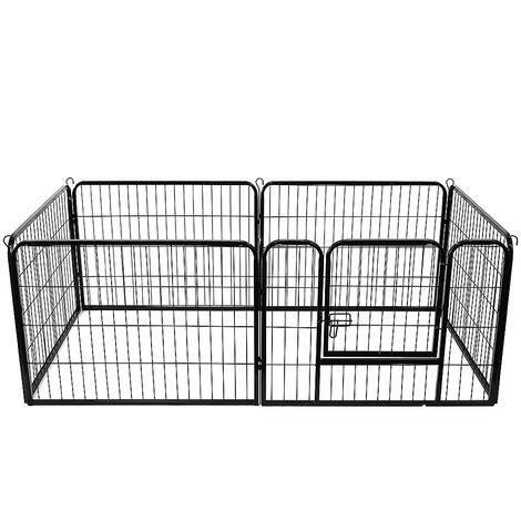 Jaula plegable de metal para perros con puerta y bandeja Pequeño parque para mascotas 6 tabletas