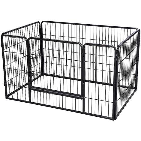 Jaula plegable para perros de metal con puerta y bandeja Parque para animales pequeños