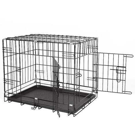 Jaula plegable para perros en metal con 2 puertas 91 * 58 * 64cm