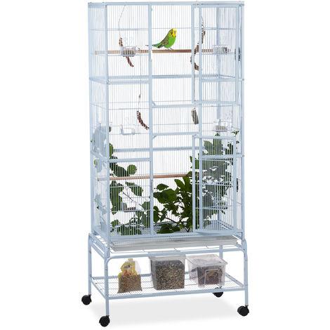 Jaula XL para pájaros, Con ruedas, Nido para canarios, Dos perchas, 180x80x50 cm, Gris claro