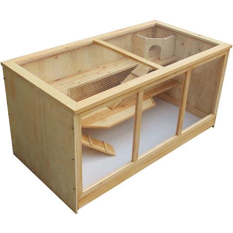Jaula XXL Caseta madera tipo casa roedores animales pequeños conejera ratón hámster