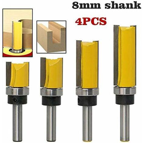 jaune- 4PCS * Fraise à copier défoncer,fraise droite queue 8 mm de copiage serie,pour faire à la main un tiroir ou autre travail du bois