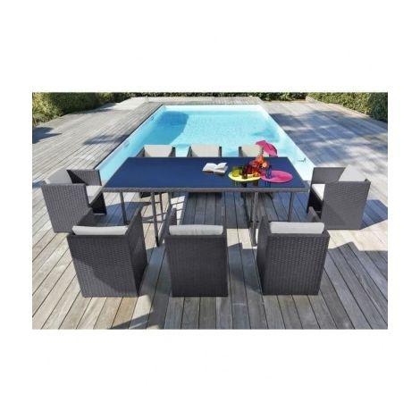 JAVA Salon de jardin 8 places en resine tressee et aluminium - Gris ...