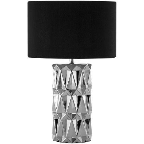 Jaxon Table Lamp, Silver Ceramic, Black Shade