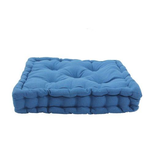 JAZZ - Pouf tapissier 100% coton bleu 40x40