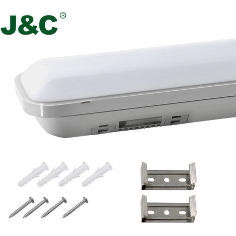 J&C® 60CM Néon Tube LED 18W Tube LED Plafond Étanche IP65 Lumière LED Blanc Neutre 4000K