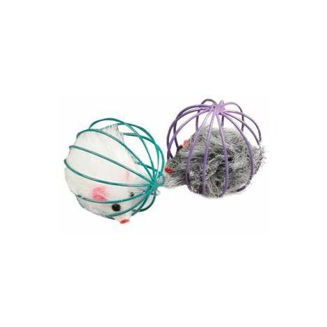 Jchat marpy souris fourrure en balle + hochet violet 6cm - tube