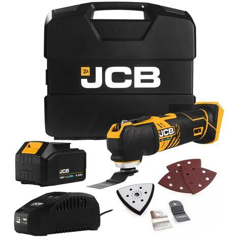 "main image of ""JCB 21-18MT 18v Cordless Multi Tool - 1x 4Ah Battery + Wbox + 6 Accessories"""