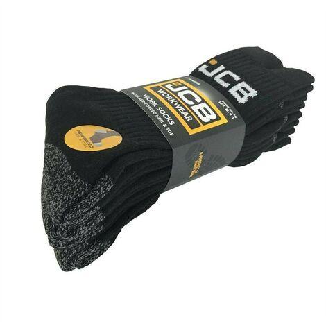 JCB 4 Pack of Size 6-11 Work Boot Socks Reinforced Heel Toe Black Grey D-W1 D-W0
