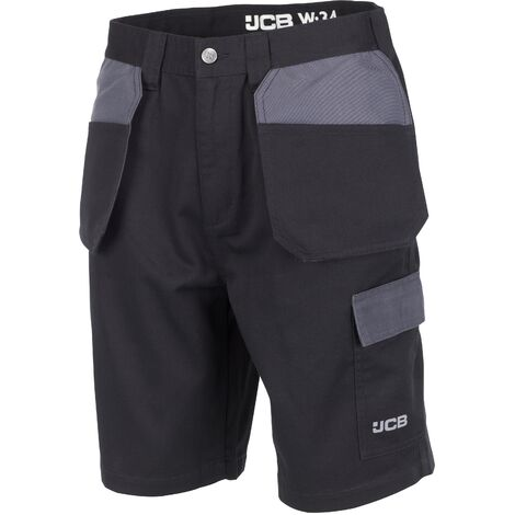 JCB Trade Plus Work Shorts With Multiple Pockets Black & Grey (Various  Sizes)