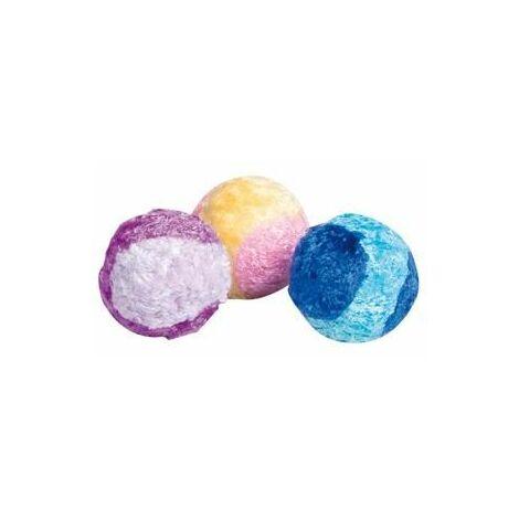 "main image of ""Jchat haza balle peluche tennis + hochet jaune/violet 4,5cm assortiment- tube"""