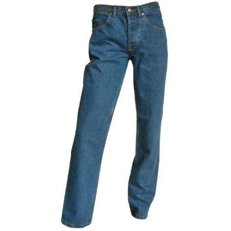 Jeans de travail braguette à boutons avec poches Western et effet délavé - Gamme Jeans - CHICAGO - DENIM - 102903 - LMA Lebeurre