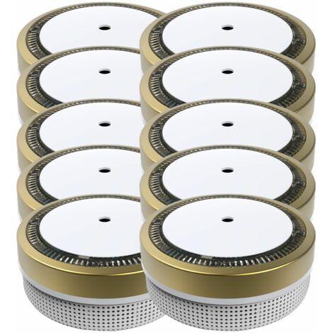 Jeising Mini Rauchmelder RWM100-Gold 10er Set - 10 Jahres Batterie - VDS geprft