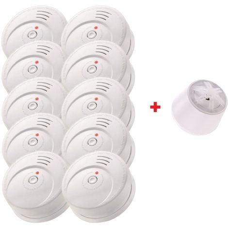 Jeising Sicherheits Set GS506 G 10er Set Rauchmelder/Brandmelder/ 10 Jahre Lithium Batterie KRIWAN zertifiziert EN14604 + Hitzemelder GS403