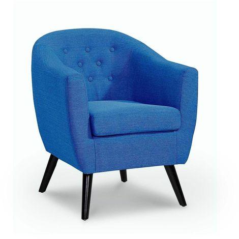 JENNA - Fauteuil scandinave en tissu bleu