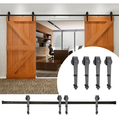 JEOBEST Kit de riel para puerta corredera para puerta de granero - Kit de riel de acero para puerta corredera doble - 366cm