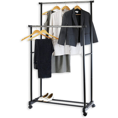 JEOBEST Perchero ajustable para ropa 2 barras 2 unidades