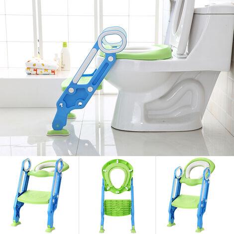 JEOBEST Reductor de asiento de inodoro con escalera plegable, asiento acolchado, escalones antideslizantes con asa, azul verde - 1 a 7 años