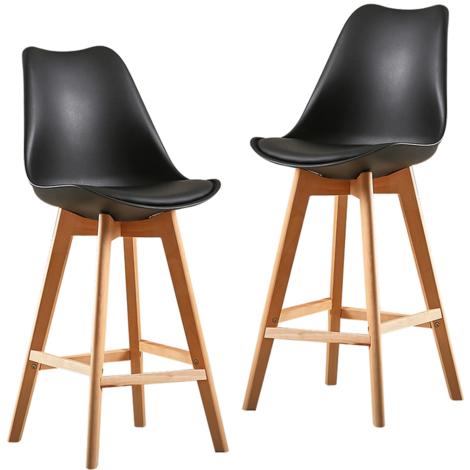JEOBEST®2X Un ensemble de deux chaises de bar de style scandinave noir