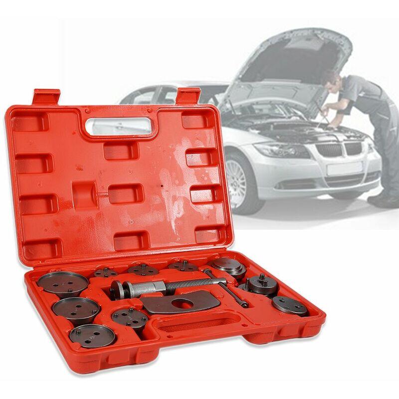 JEOBEST®32.5*25*7cm Coffret Set repousse piston d étrier de frein Kit d outils 13 pièces Rouge - Rouge-Argent