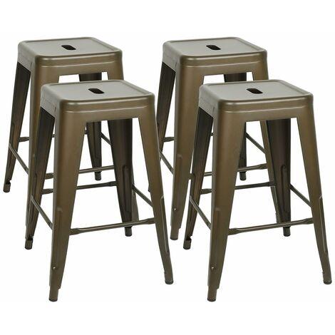 JEOBEST®4 PCS Tabouret Tolix en bois Pauchard Style - Métal Peinture mate couleur rouille - Rust-colored matt paint