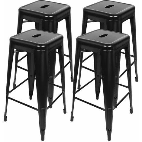 JEOBEST®4 Tabouret de bar métallique haut de gamme de style industriel en fer forgé - Noir