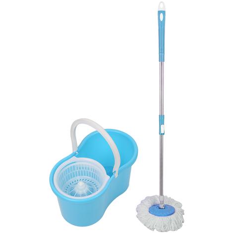 JEOBEST®Balai Serpillère Vapeur Mop 360° avec Seau Bac Rotatif Set Complet bleu