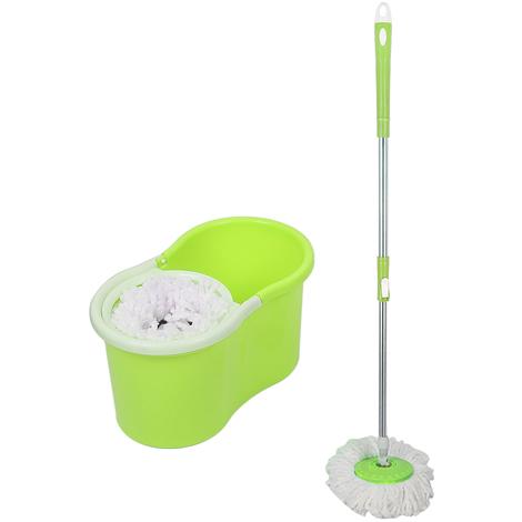 JEOBEST®Balai Serpillère Vapeur Mop 360° avec Seau Bac Rotatif Set Complet Vert