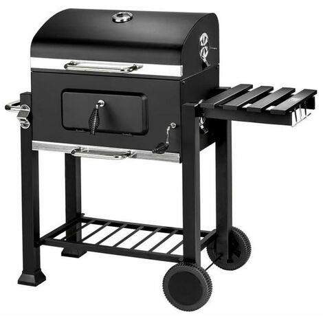 JEOBEST®Barbecue Charbon de Bois à 2 Roues 2 Grilles et 1 Thermomètre en Métal Noir - cylindrique