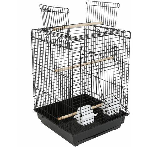 JEOBEST®Cage à Oiseaux avec Corde de Jouet 40 x 40 x 58 cm Cage pour Perruche Canari Calopsitte Ouverture Supérieure - Noir