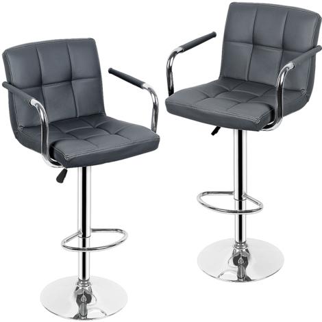 JEOBEST®Chaise de bar avec accoudoirs 2 pcs Similicuir Gris deux avec accoudoirs chaise de bar réglable