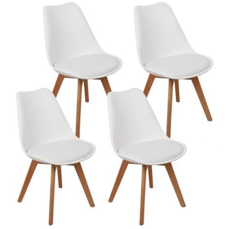 JEOBEST®Chaises scandinaves Simple blanc et bois clair (lot de 4) JEOBEST