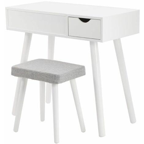JEOBEST®Coiffeuse Moderne Coiffeuse Table de Maquillage avec Miroir Pliant?1 Tiroir de Rangement,Tabouret - Blanc