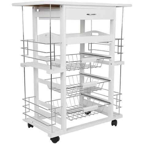 JEOBEST®Desserte de cuisine kitchen trolley en bambou meuble roulettes avec 3 paniers Desserte de cuisine sur roulettes en pin massif, coloris blanc
