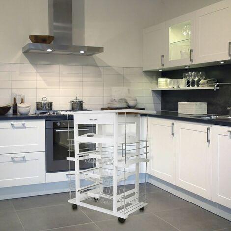 JEOBEST®Desserte de cuisine kitchen trolley en bambou meuble roulettes avec 3 paniers Desserte de cuisine sur roulettes en pin massif, coloris blanc - Blanc