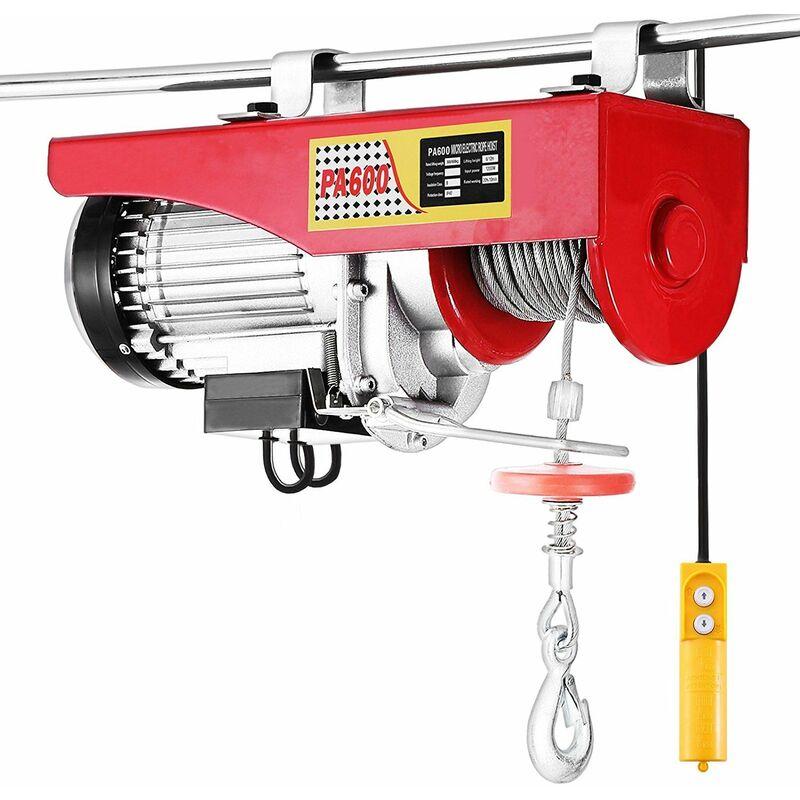 ®Electrique Treuil-Palan Electrique Avec contrôle pour atelier boutique de Garage 800kg - Rouge-Argent - Jeobest