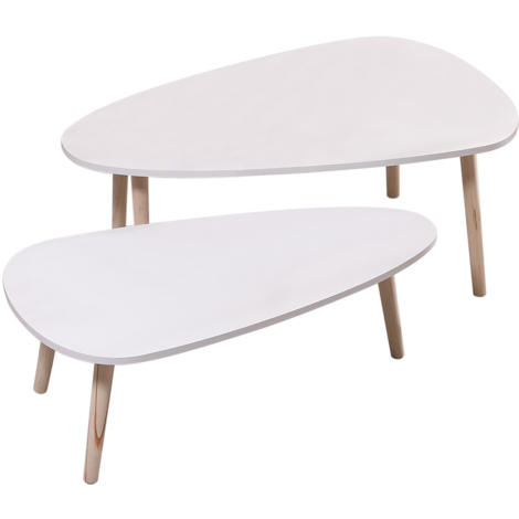 JEOBEST®Lot de 2 tables basses gigognes laquées blanc scandinave