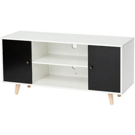 JEOBEST®Meuble TV scandinave pieds en bois gris foncé et blanc