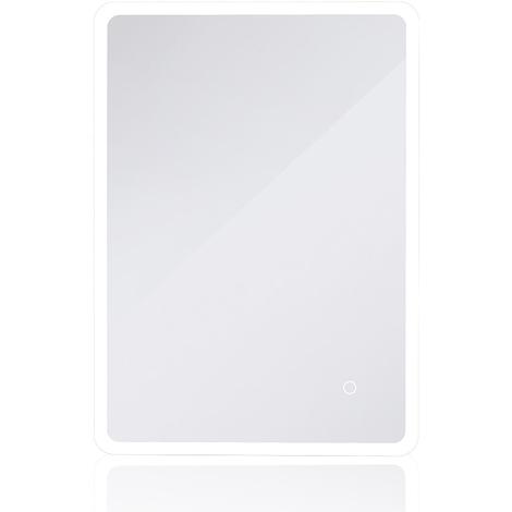 JEOBEST®Miroir de salle de bain commande Tactile Éclairée,Angle Rond (80 * 60cm)