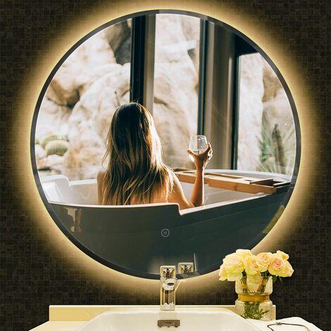 JEOBEST®Miroir de salle de bain rond biseauté blanc chaud anti-buée 70*70*4.5cm - Blanc chaud