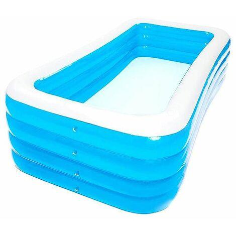 JEOBEST®Rectangle enfant et famille Piscine Gonflable Baignoire Domestique Bleu - 4 boudins - 180x150x72 cm - Bleu-blanc