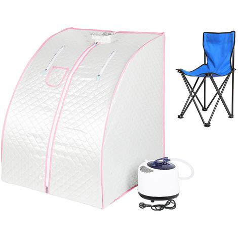 JEOBEST®Sauna Box Bain de Vapeur mobile Spa Pliable Ménage à Vapeur Télécommande Température Argenté 220V