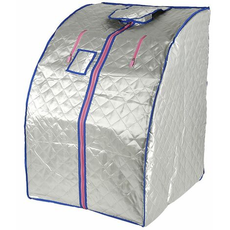 JEOBEST®Sauna Box Bain de Vapeur mobile Spa Pliable Ménage à Vapeur Télécommande Température Argenté 220V Prise EU - Argent