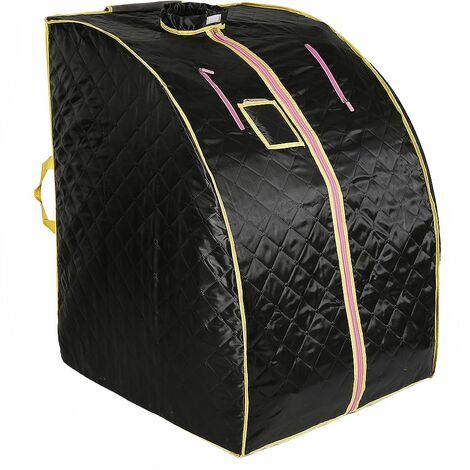 JEOBEST®Sauna Box Bain de Vapeur mobile Spa Pliable Ménage à Vapeur Télécommande Température Noir 220V Prise EU - Noir
